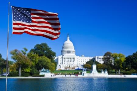 22919684 - washington dc, usa flag and capitol building