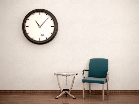 49515763 - 3d illustration of waiting room. chair, table, clock